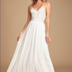 Lulus Meet Me in Madrid White Beaded Maxi Dress